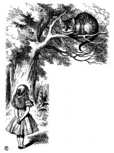 Image of Alice gazing up at a tree containing a grinning cat